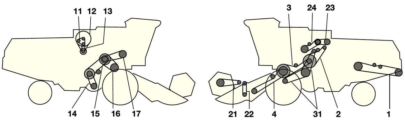 Елементи приводу комбайна Jone Deere 1032-1042-1052