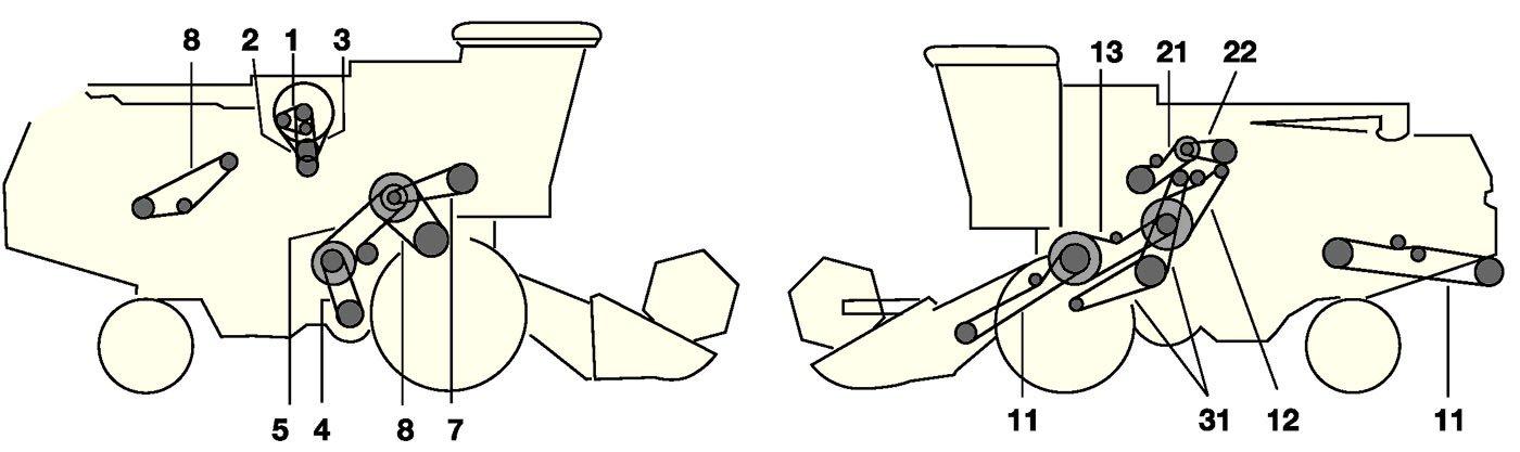 Елементи приводу комбайна Jone Deere 1055