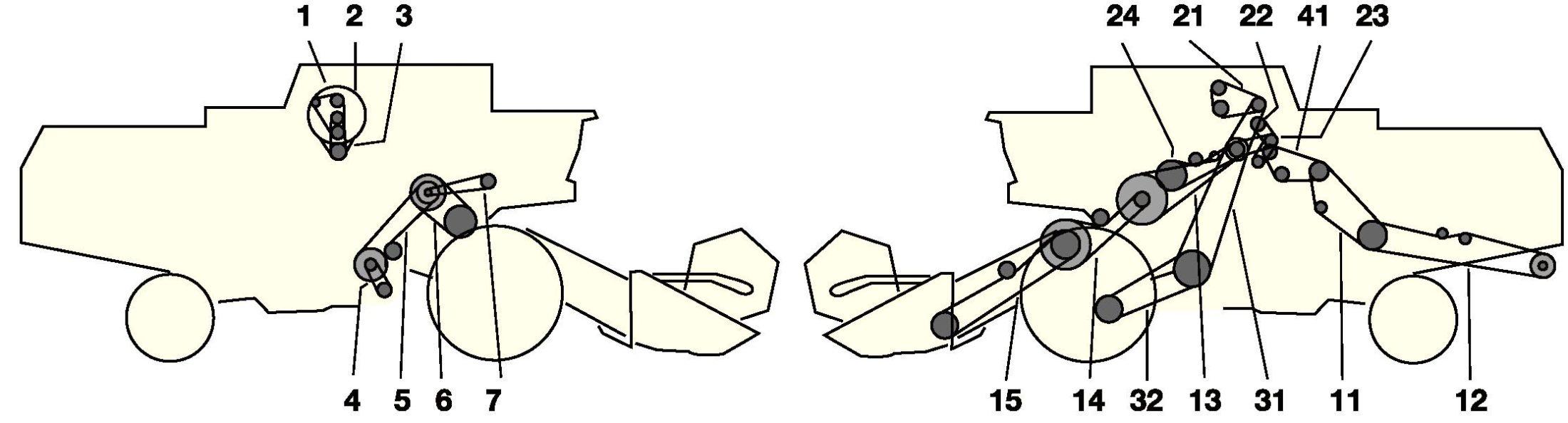 Елементи приводу комбайна Jone Deere 1068