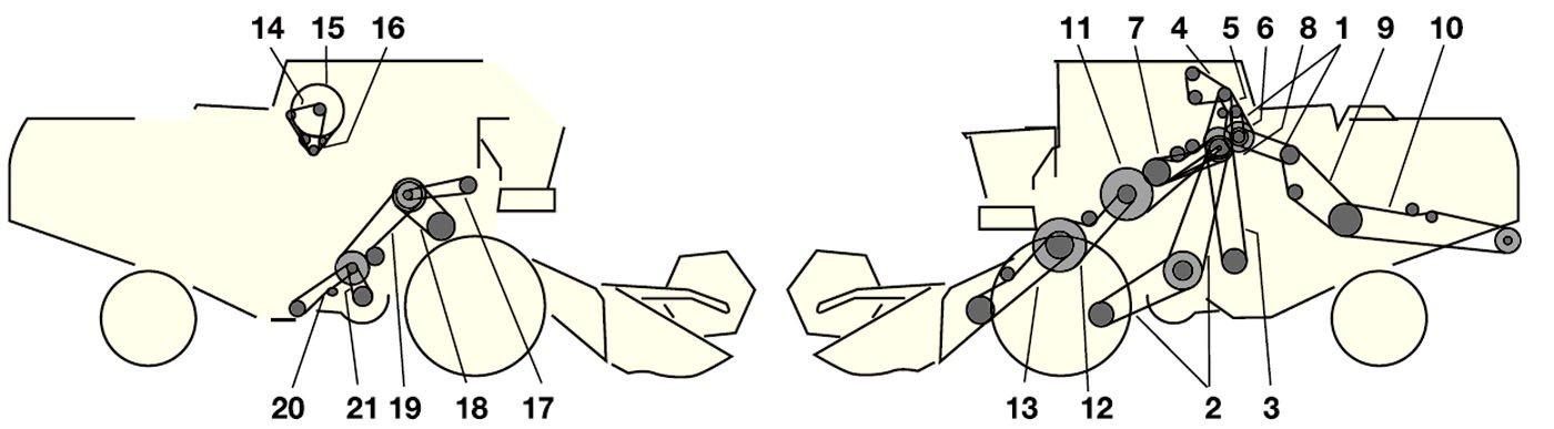 Елементи приводу комбайна Jone Deere 1169 - 1169 HYDRO 4