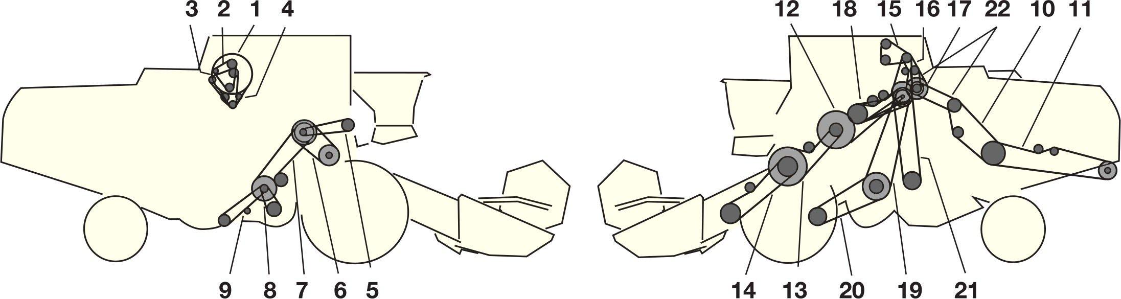 Елементи приводу комбайна Jone Deere 1188 - 1188 HYRDO 4