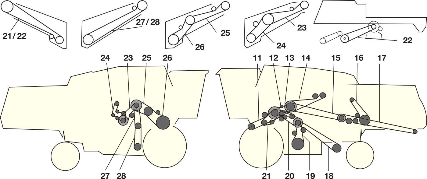 Елементи приводу комбайна Jone Deere 2054 - 2056 — 2058